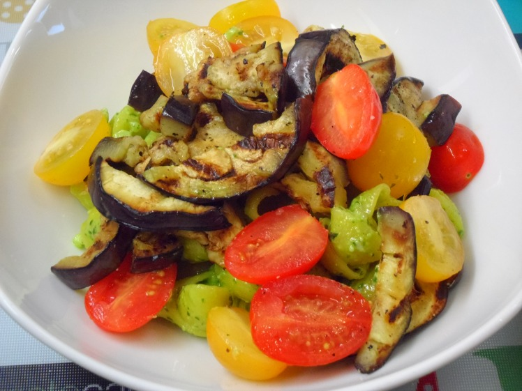 Low FODMAP Pesto Gluten Free Pasta with Griddled Aubergine and Tomatoes