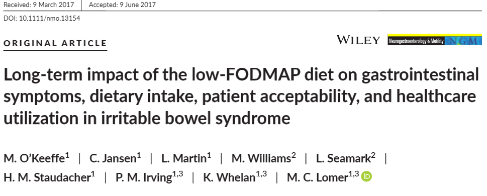 Long term FODMAP UK
