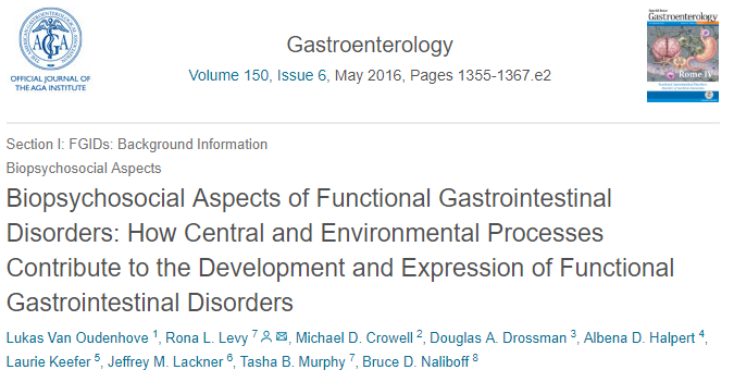 Biopsychosocial Aspects of Functional Gastrointestinal Disorders